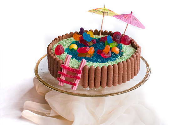 Swimming Pool Cake (Vanilla + Chocolate + Jelly + Candy) · Alanabread